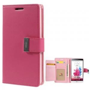 LG G3 - etui na telefon i dokumenty - Rich Diary ciemnoróżowe