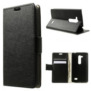 LG L Fino - etui na telefon i dokumenty - Litchi czarne