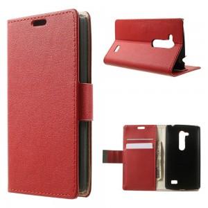 LG L Fino - etui na telefon i dokumenty - Litchi czerwone