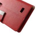 LG L Fino Ochronne Portfel Etui – Litchi Czerwony