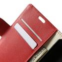 LG L65 Portfel Etui – PU Skóra Litchi Czerwony