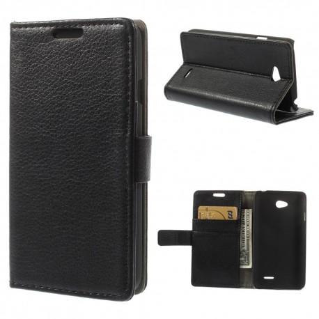LG L65 - etui na telefon i dokumenty - Litchi czarne