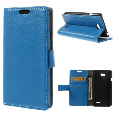 LG L65 - etui na telefon i dokumenty - Litchi niebieskie