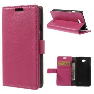 LG L65 - etui na telefon i dokumenty - Litchi różowe
