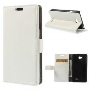 LG L65 - etui na telefon i dokumenty - Litchi białe