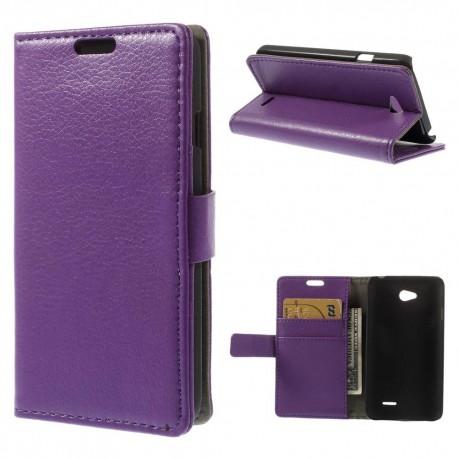 LG L65 - etui na telefon i dokumenty - Litchi purpurowe