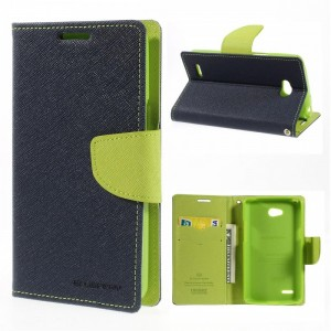 LG L80 - etui na telefon i dokumenty - Fancy Goospery niebieskie