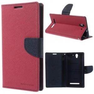 Sony Xperia C3 - etui na telefon i dokumenty - Fancy Goospery ciemnoróżowy