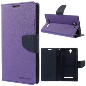 Sony Xperia C3 - etui na telefon i dokumenty - Fancy Goospery purpurowe