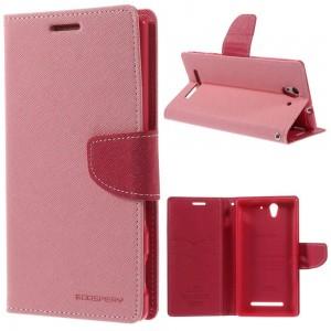 Sony Xperia C3 - etui na telefon i dokumenty - Fancy Goospery różowe