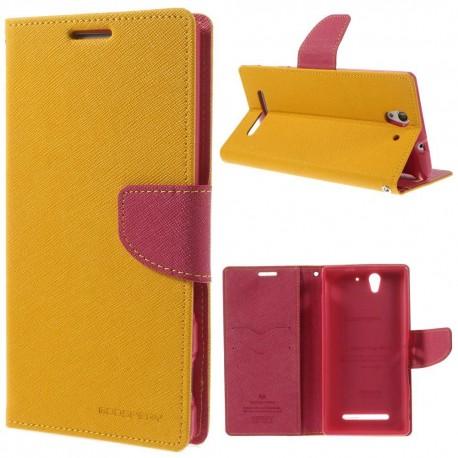 Sony Xperia C3 - etui na telefon i dokumenty - Fancy Goospery żółte
