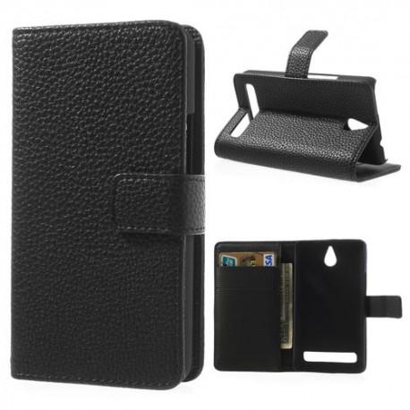 Sony Xperia E1 - etui na telefon i dokumenty - Lychee czarne
