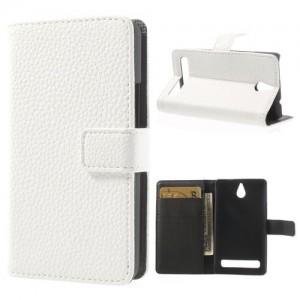 Sony Xperia E1 - etui na telefon i dokumenty - Lychee białe