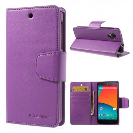 LG Nexus 5 - etui na telefon i dokumenty - Sonata purpurowe