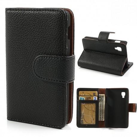 LG Optimus L4 II - etui na telefon i dokumenty - Litchi czarne