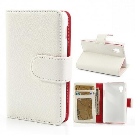LG Optimus L4 II - etui na telefon i dokumenty - Litchi białe