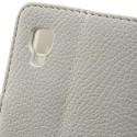 LG Optimus L4 II Portfel Etui – Litchi Białe