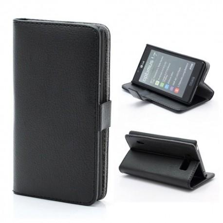 LG Optimus L7 P700 - etui na telefon i dokumenty - Litchi czarne