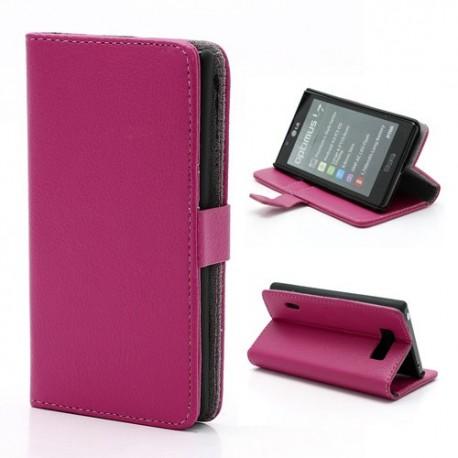 LG Optimus L7 P700 - etui na telefon i dokumenty - Litchi różowe