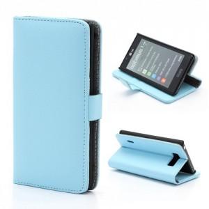 LG Optimus L7 P700 - etui na telefon i dokumenty - Litchi niebieskie
