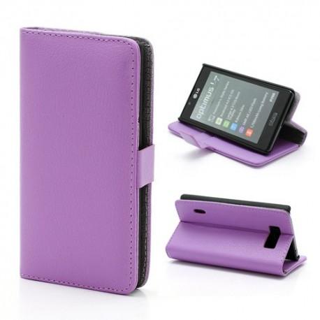 LG Optimus L7 P700 - etui na telefon i dokumenty - Litchi purpurowe