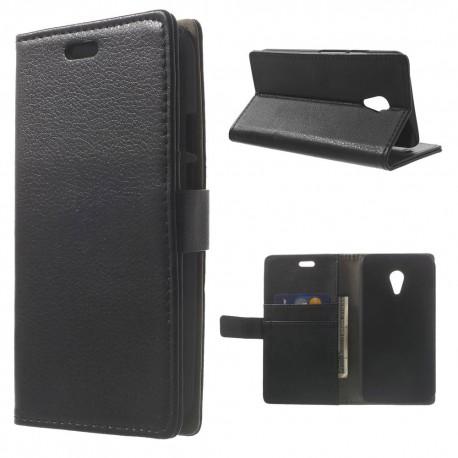 Motorola Moto G2 - etui na telefon i dokumenty - Litchi czarne