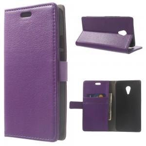 Motorola Moto G2 - etui na telefon i dokumenty - Litchi purpurowy