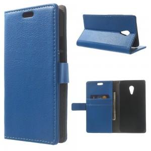 Motorola Moto G2 - etui na telefon i dokumenty - Litchi niebieskie