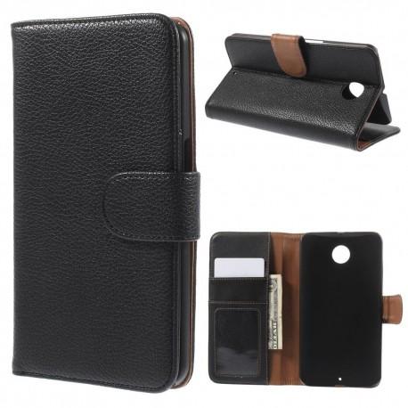 Motorola Nexus 6 - etui na telefon i dokumenty - Litchi czarne