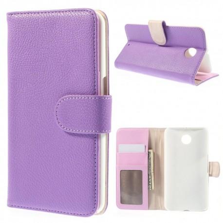 Motorola Nexus 6 - etui na telefon i dokumenty - Litchi purpurowe