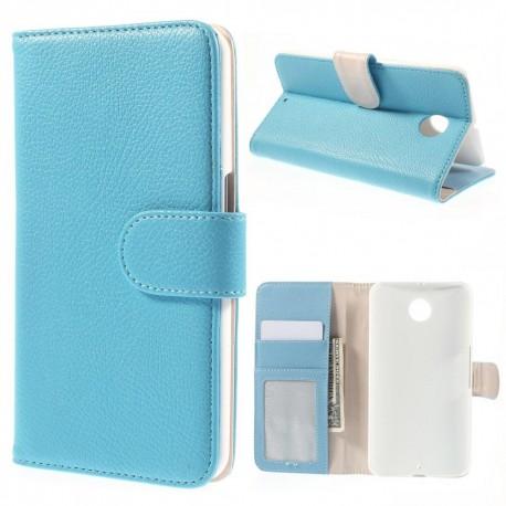 Motorola Nexus 6 - etui na telefon i dokumenty - Litchi niebieskie