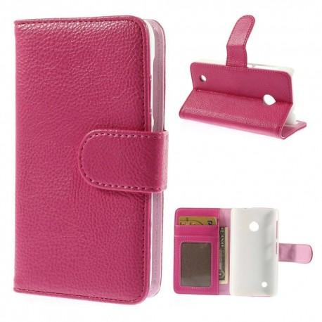 Nokia Lumia 530 - etui na telefon i dokumenty - Litchi różowe