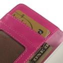 Nokia Lumia 530 Portfel Etui – Litchi Różowy