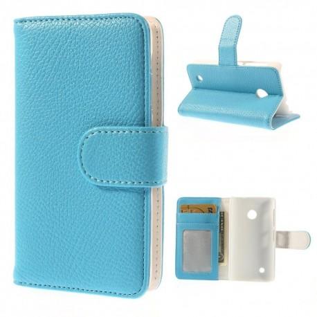 Nokia Lumia 530 - etui na telefon i dokumenty - Litchi niebieskie