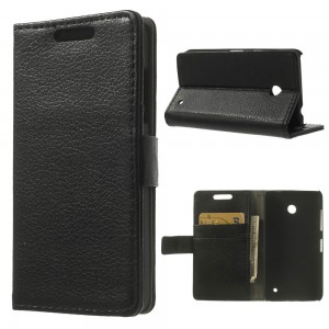 Nokia Lumia 630 - etui na telefon i dokumenty - Litchi czarne