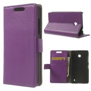 Nokia Lumia 630 - etui na telefon i dokumenty - Litchi purpurowy