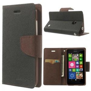 Nokia Lumia 630 / 635 - etui na telefon i dokumenty - Fancy czarne / brązowy