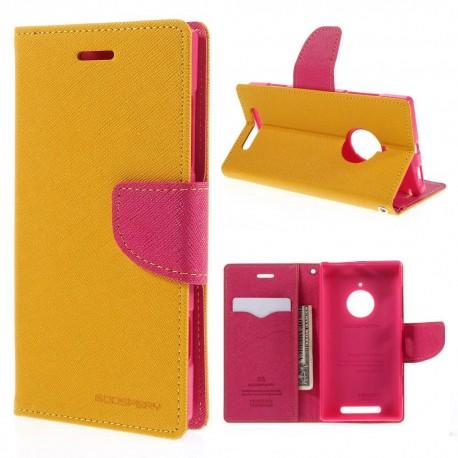 Nokia Lumia 830 - etui na telefon i dokumenty - Fancy żółte