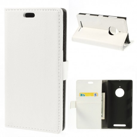 Nokia Lumia 830 - etui na telefon i dokumenty - Litchi białe