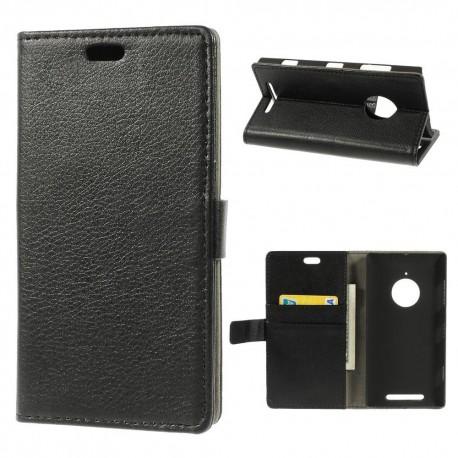 Nokia Lumia 830 - etui na telefon i dokumenty - Litchi czarne