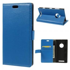 Nokia Lumia 830 - etui na telefon i dokumenty - Litchi niebieskie