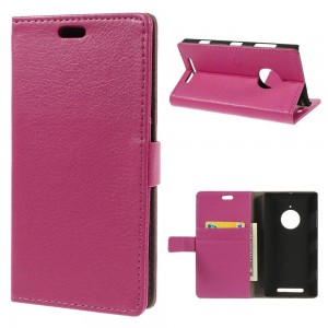 Nokia Lumia 830 - etui na telefon i dokumenty - Litchi różowe