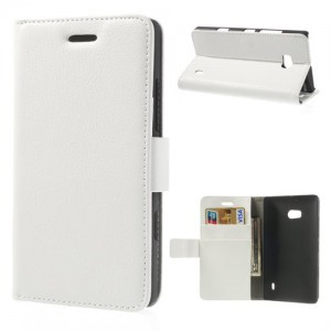 Nokia Lumia 930- etui na telefon i dokumenty - Litchi białe