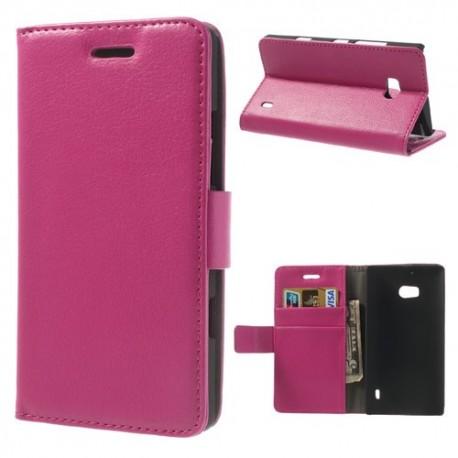 Nokia Lumia 930 - etui na telefon i dokumenty - Litchi różowe
