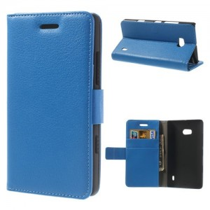 Nokia Lumia 930 - etui na telefon i dokumenty - Litchi niebieskie