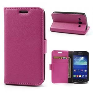Samsung Galaxy Ace 3 - etui na telefon i dokumenty - Lychee różowe
