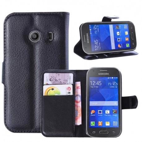 Samsung Galaxy Ace Style - etui na telefon i dokumenty - Litchi czarne