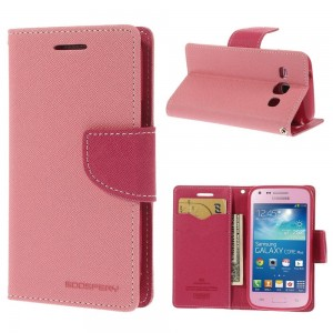 Samsung Galaxy Core Plus - etui na telefon i dokumenty - Fancy różowe