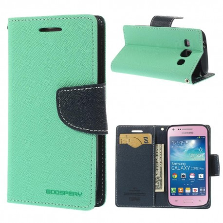 Samsung Galaxy Core Plus - etui na telefon i dokumenty - Fancy cyjan