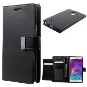 Samsung Galaxy Note 4 - etui na telefon i dokumenty - Rich Diary czarny